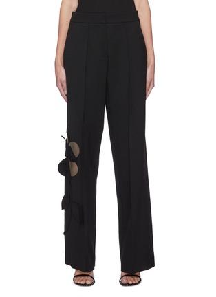 Main View - Click To Enlarge - OSCAR DE LA RENTA - Cut Out Floral Appliqué Wide Leg Virgin Wool Blend Pants