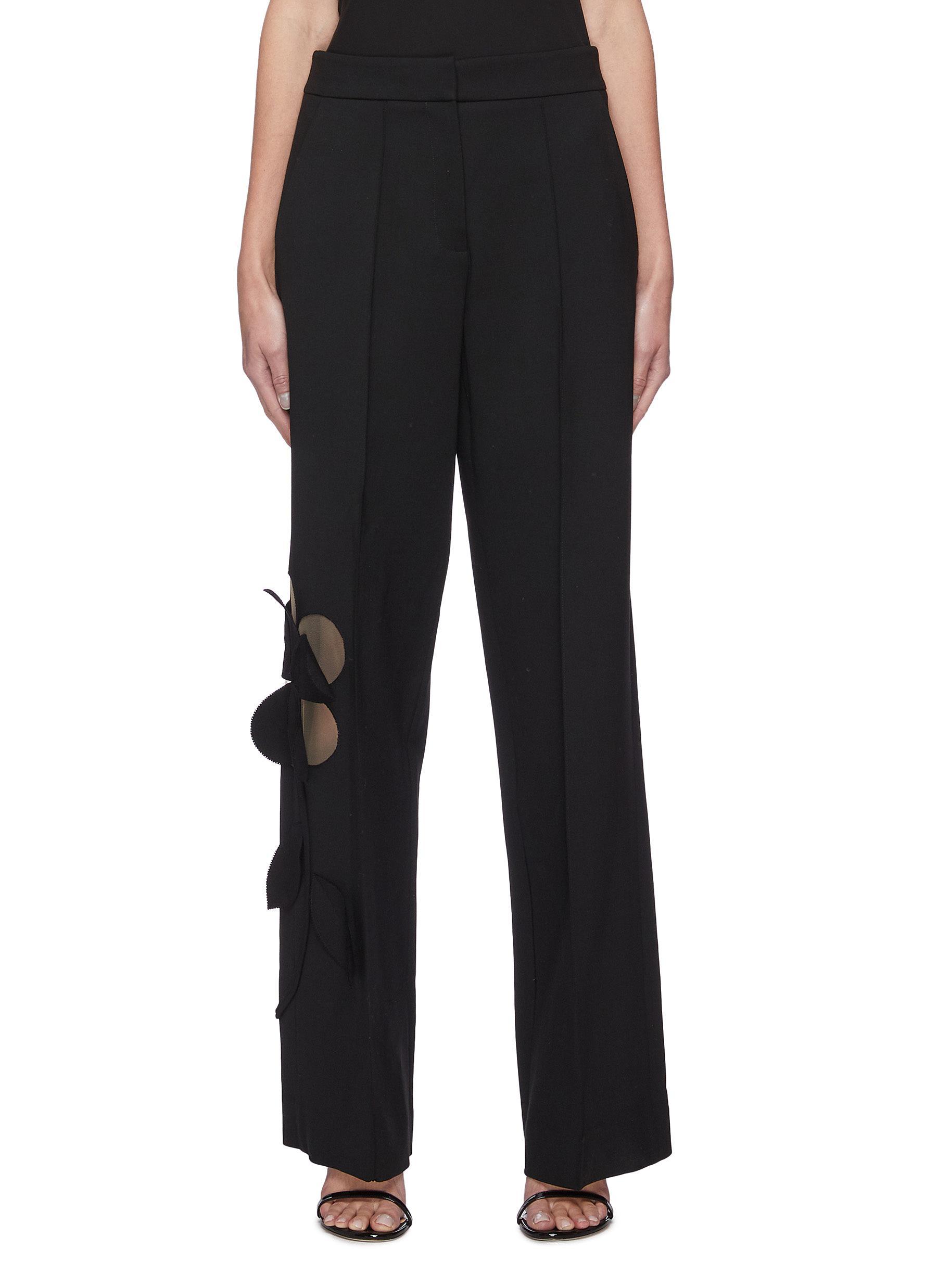 Oscar De La Renta Clothing Cut Out Floral Appliqué Wide Leg Virgin Wool Blend Pants