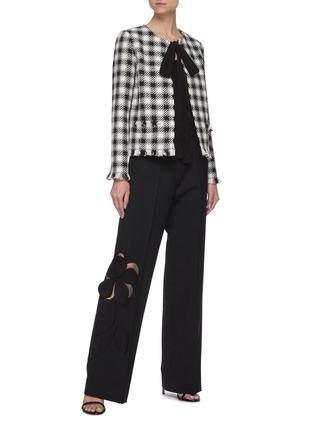 Figure View - Click To Enlarge - OSCAR DE LA RENTA - Cut Out Floral Appliqué Wide Leg Virgin Wool Blend Pants