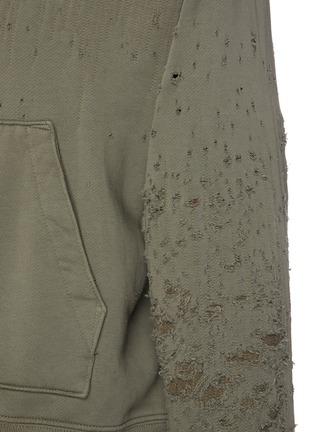 - AMIRI - Distressed Detail Zip Up Cotton Hoodie