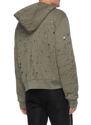 Back View - Click To Enlarge - AMIRI - Distressed Detail Zip Up Cotton Hoodie