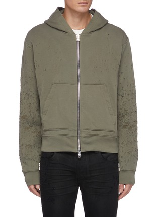 Main View - Click To Enlarge - AMIRI - Distressed Detail Zip Up Cotton Hoodie