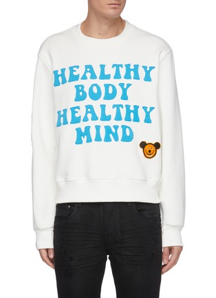 Main View - Click To Enlarge - AMIRI - Slogan Graphic Patch Cotton Sweatshirt