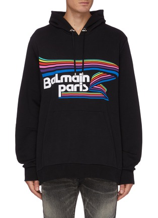 Main View - Click To Enlarge - BALMAIN - Slogan print oversized hoodie