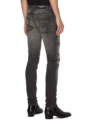 Back View - Click To Enlarge - BALMAIN - Zip pocket deconstructed jeans