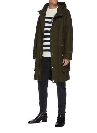 Figure View - Click To Enlarge - BALMAIN - Hooded Cotton Blend Parka