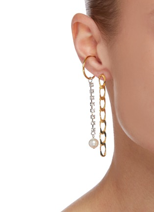 Figure View - Click To Enlarge - JOOMI LIM - Glam Riot' Chain Crystal Asymmetrical Drop Earrings