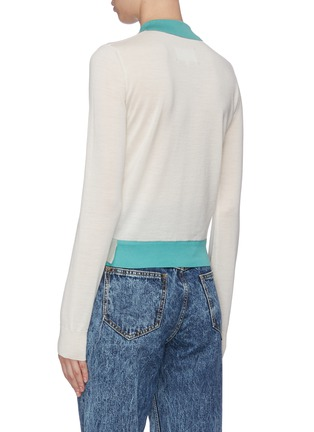 Back View - Click To Enlarge - MAISON MARGIELA - Deconstructed Detail Duo-tone Wool Cotton Polo Sweater