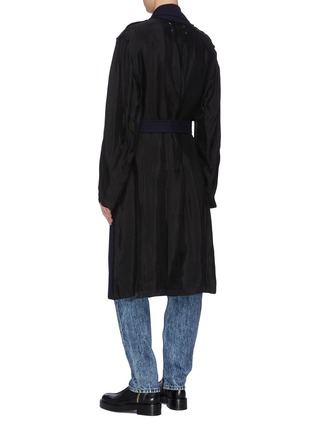Back View - Click To Enlarge - MAISON MARGIELA - Belted Double-breast Wool Blend Coat