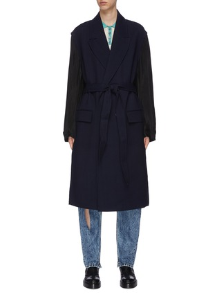 Main View - Click To Enlarge - MAISON MARGIELA - Belted Double-breast Wool Blend Coat