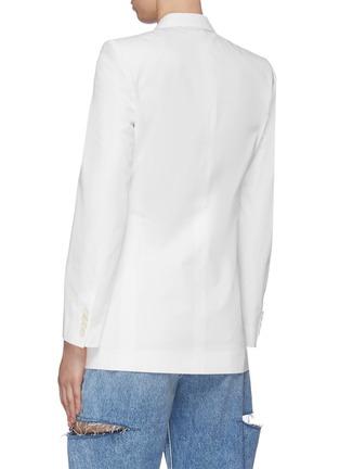 Back View - Click To Enlarge - MAISON MARGIELA - Peak Lapel Double-breast Cotton Blazer