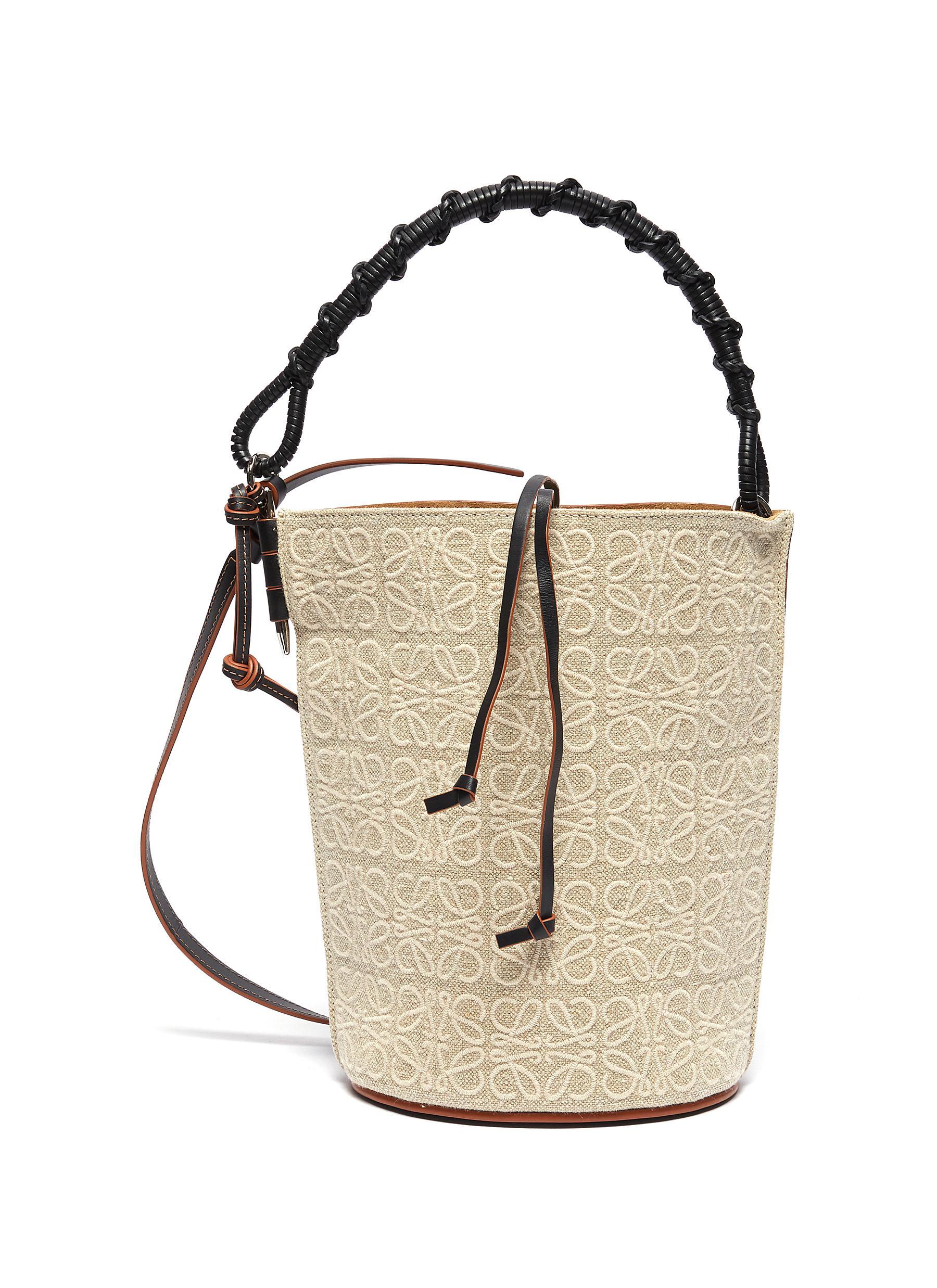 Gate' woven handle anagram canvas bucket bag