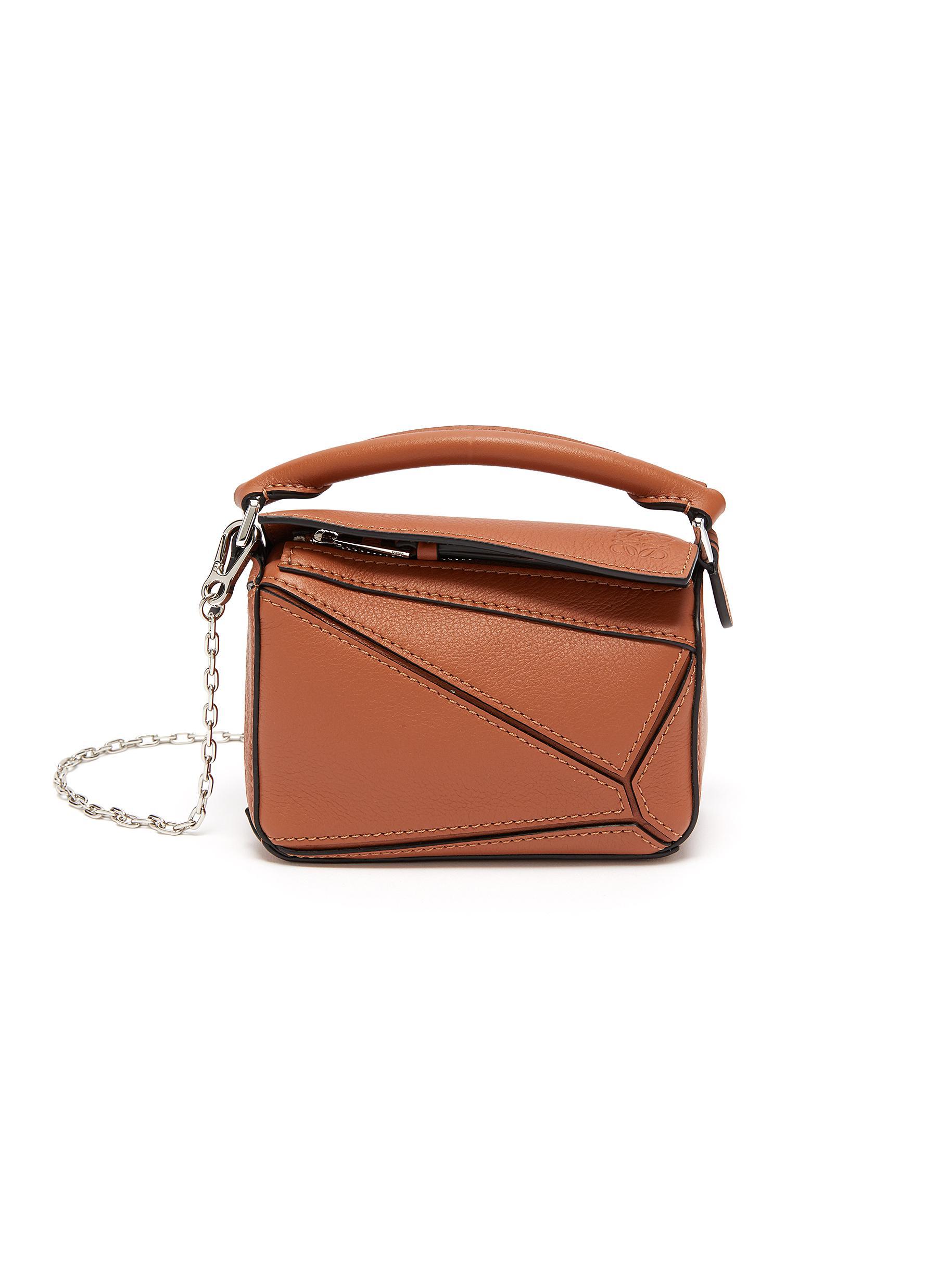 Loewe Puzzle' Geometric Panel Nano Leather Bag In Brown