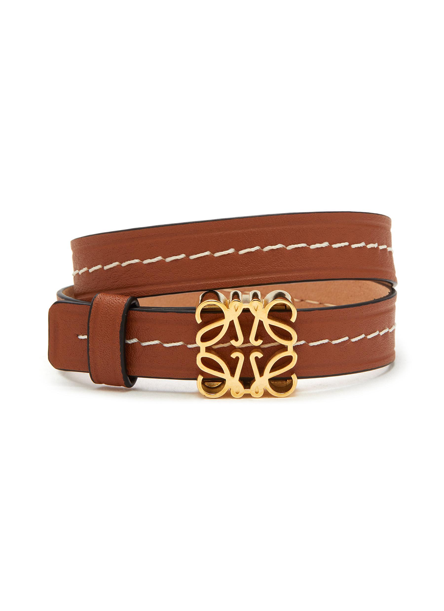 Anagram Plaque Double Strap Leather Bracelet - LOEWE - Modalova