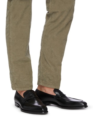 Figure View - Click To Enlarge - GEORGE CLEVERLEY - George' Chisel Toe Leather Penny Loafers