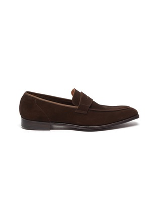 Main View - Click To Enlarge - GEORGE CLEVERLEY - George' Chisel Toe Suede Penny Loafers