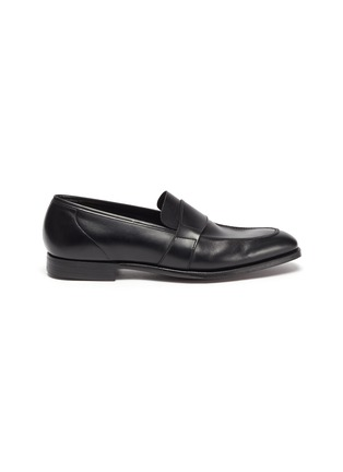 Main View - Click To Enlarge - GEORGE CLEVERLEY - Owen' Wide Strap Leather Penny Loafers