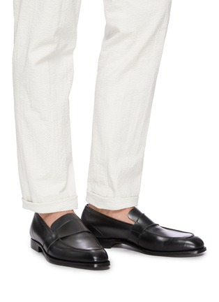 Figure View - Click To Enlarge - GEORGE CLEVERLEY - Owen' Wide Strap Leather Penny Loafers
