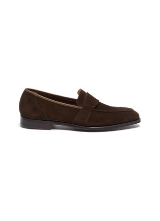 Main View - Click To Enlarge - GEORGE CLEVERLEY - Owen' Wide Strap Suede Penny Loafers