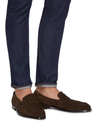 Figure View - Click To Enlarge - GEORGE CLEVERLEY - Owen' Wide Strap Suede Penny Loafers