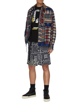 Figure View - Click To Enlarge - SACAI - Patchwork Flannel Plaid Coach Jacket