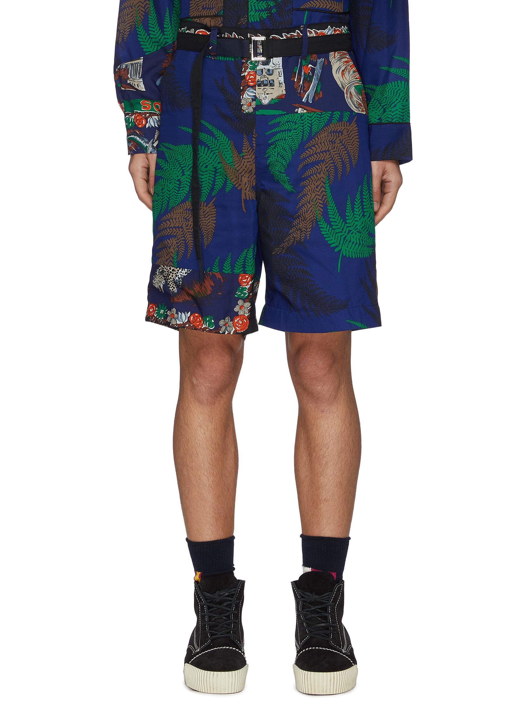 Sacai BELTED ARCHIVE PRINT PATCHWORK SHORTS
