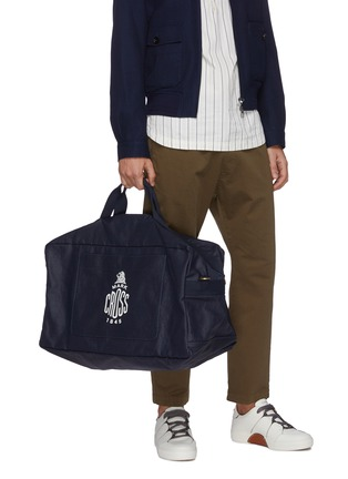 Front View - Click To Enlarge - MARK CROSS - WEATHERBIRD' Logo Canvas Duffle Bag
