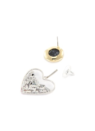 Detail View - Click To Enlarge - VENNA - Crystal Embellished Detachable Heart Charm Marble Effect Stud Earrings