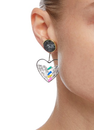Figure View - Click To Enlarge - VENNA - Crystal Embellished Detachable Heart Charm Marble Effect Stud Earrings