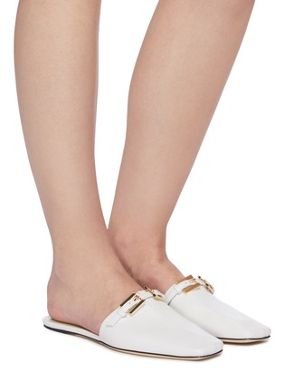 Figure View - Click To Enlarge - BY FAR - 'Rado' Double Buckle Square Toe Mules