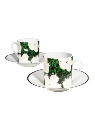 Main View - Click To Enlarge - LIGNE BLANCHE - Andy Warhol 'Flowers – White' Porcelain Espresso Cup Set