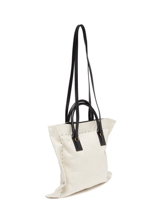 Detail View - Click To Enlarge - JACQUEMUS - Le Coussin' leather strap puff cotton tote