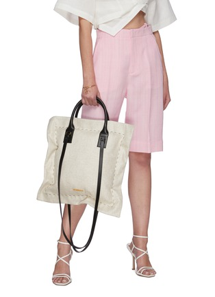 Front View - Click To Enlarge - JACQUEMUS - Le Coussin' leather strap puff cotton tote