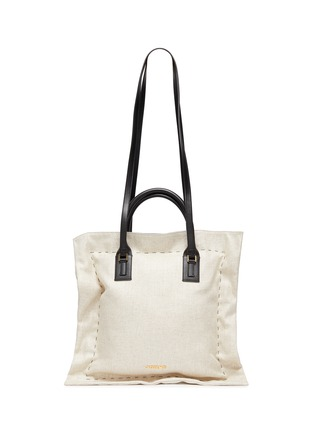 Main View - Click To Enlarge - JACQUEMUS - Le Coussin' leather strap puff cotton tote