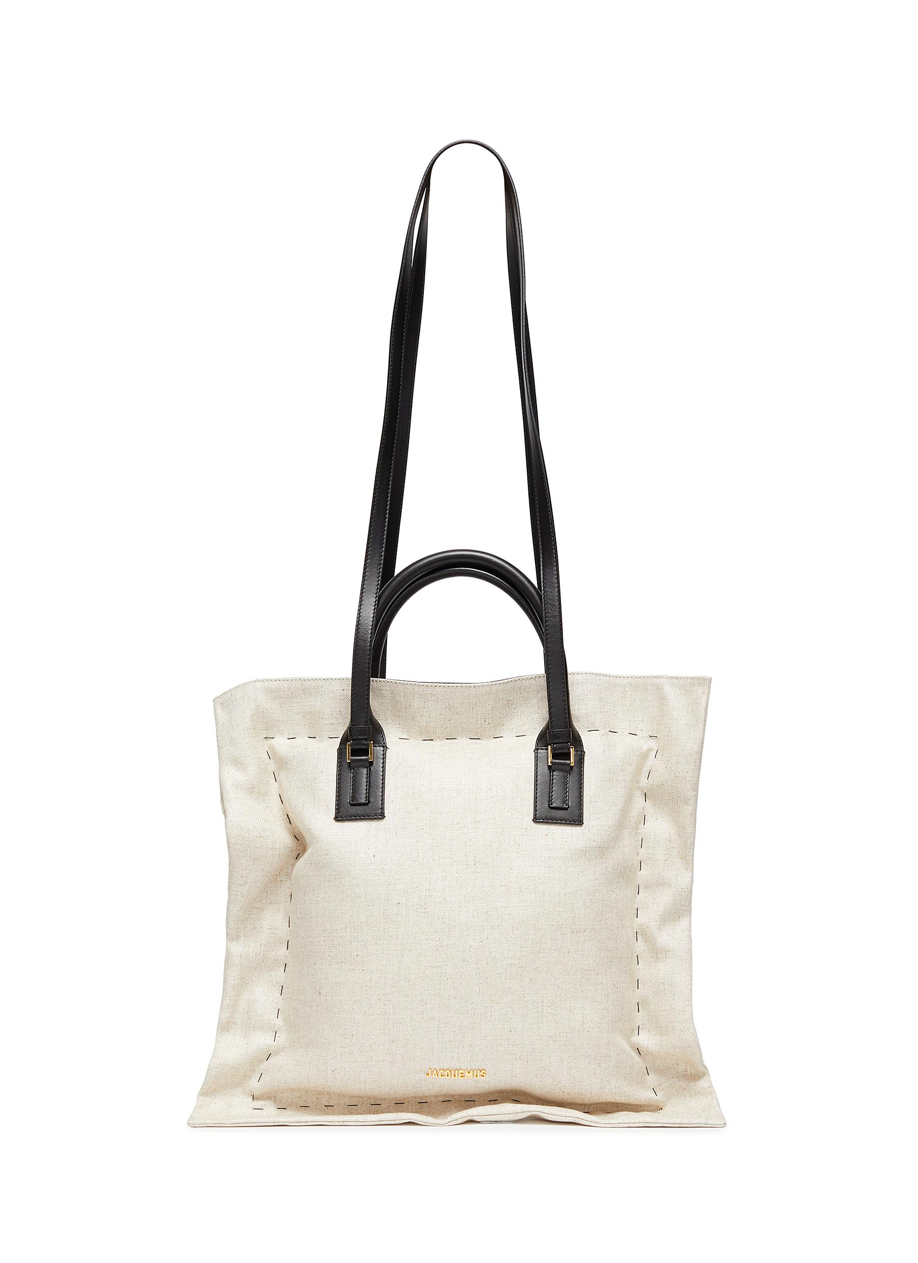 Jacquemus 'LE COUSSIN' LEATHER STRAP PUFF COTTON TOTE