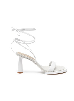 Detail View - Click To Enlarge - JACQUEMUS - Les Carre Rond' mismatched ankle strap sandals