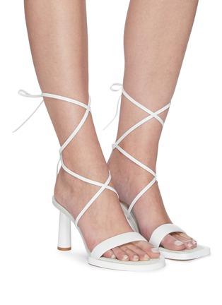 Figure View - Click To Enlarge - JACQUEMUS - Les Carre Rond' mismatched ankle strap sandals