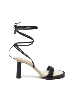 Back View - Click To Enlarge - JACQUEMUS - Les Carre Rond' strappy leather linen sandals