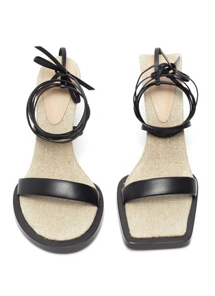 Main View - Click To Enlarge - JACQUEMUS - Les Carre Rond' strappy leather linen sandals