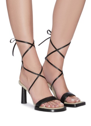 Figure View - Click To Enlarge - JACQUEMUS - Les Carre Rond' strappy leather linen sandals