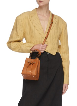 Front View - Click To Enlarge - STRATHBERRY - Lana Osette' Top Handle Drawstring Leather Bucket Bag