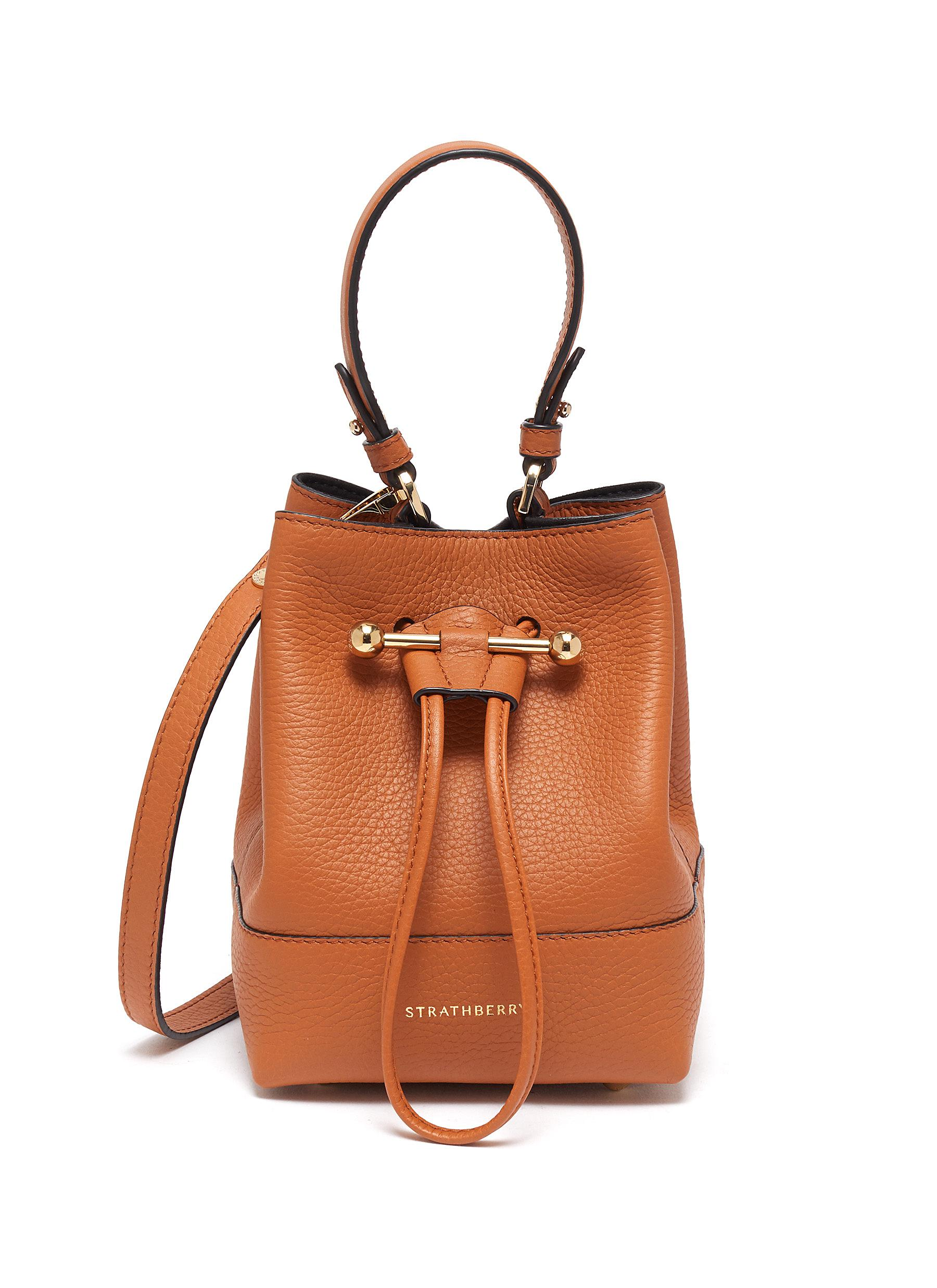 Strathberry LANA OSETTE' TOP HANDLE DRAWSTRING LEATHER BUCKET BAG