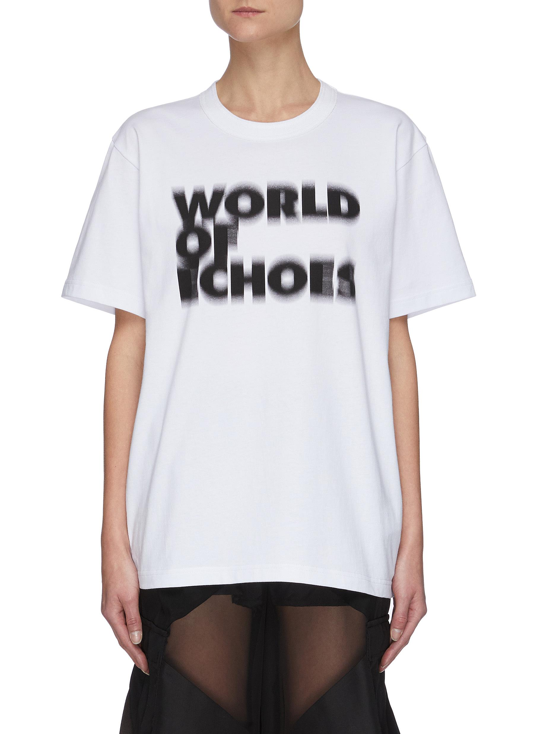 Sacai X FRANÇOIS K. WORLD OF ECHOES SLOGAN LOGO PRINT T-SHIRT