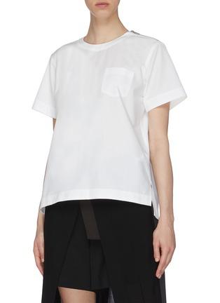 Detail View - Click To Enlarge - SACAI - Sheer Bralette Cotton T-shirt
