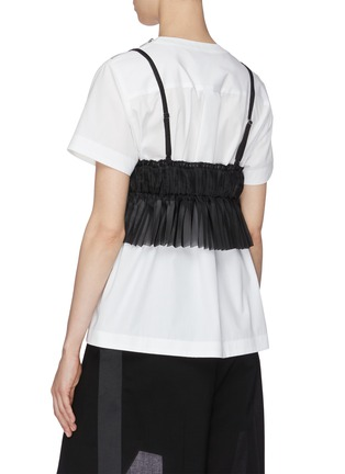 Back View - Click To Enlarge - SACAI - Sheer Bralette Cotton T-shirt