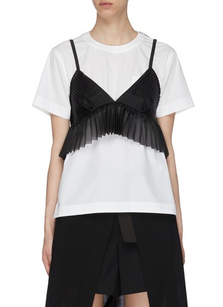 Main View - Click To Enlarge - SACAI - Sheer Bralette Cotton T-shirt