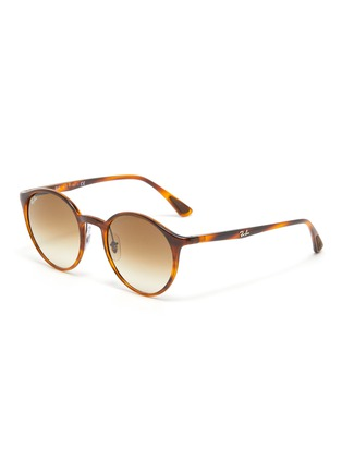 Main View - Click To Enlarge - RAY-BAN - Tortoiseshell Effect Round Acetate Frame Thin Temple Sunglasses