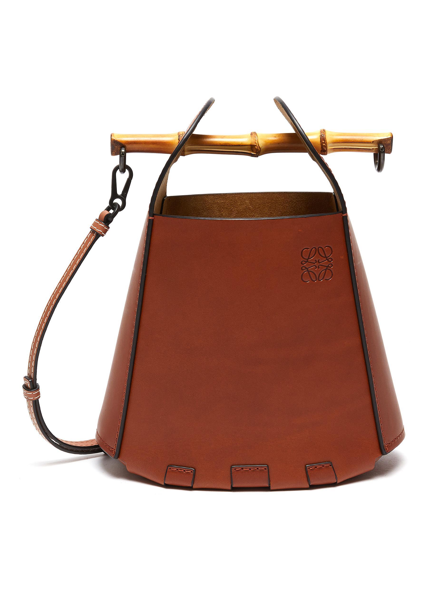 Bamboo Top Handle Leather Bucket Bag