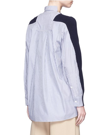 Back View - Click To Enlarge - SACAI - Stripe panel cotton cardigan