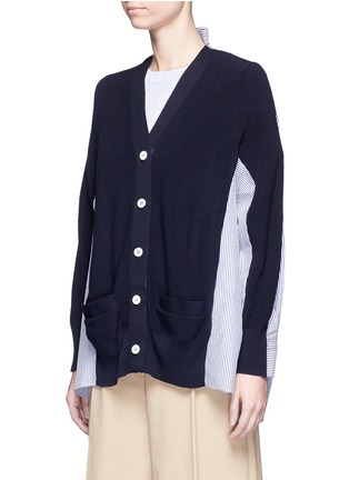 Front View - Click To Enlarge - SACAI - Stripe panel cotton cardigan